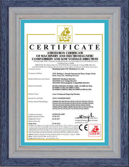 CE Certificate of Laser Cutting Engraving Machine